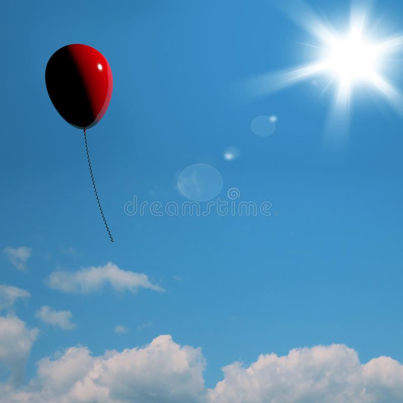 Download Red Balloon Soaring Representing Freedom Or Being Alone Stock Illustration - Image: 24615764