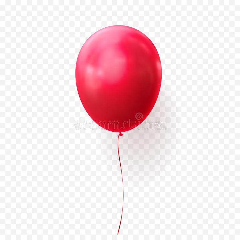 Red balloon vector transparent background glossy realistic baloon for Birthday party. Red balloon vector illustration on transparent background. Glossy realistic royalty free illustration