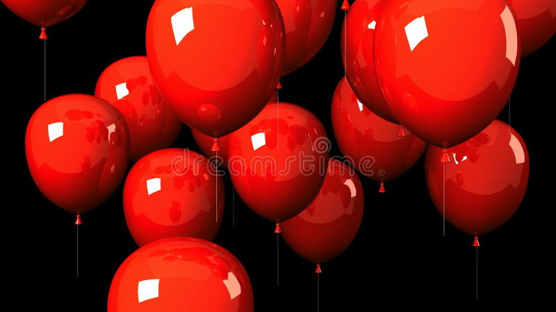 Red Balloons On Black Background Stock Video Video Of Lively