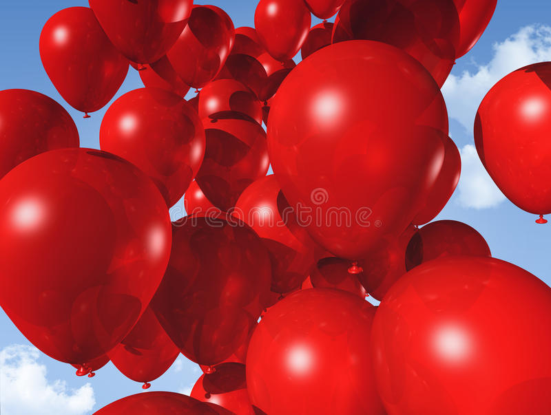 Red balloons on a blue sky vector illustration