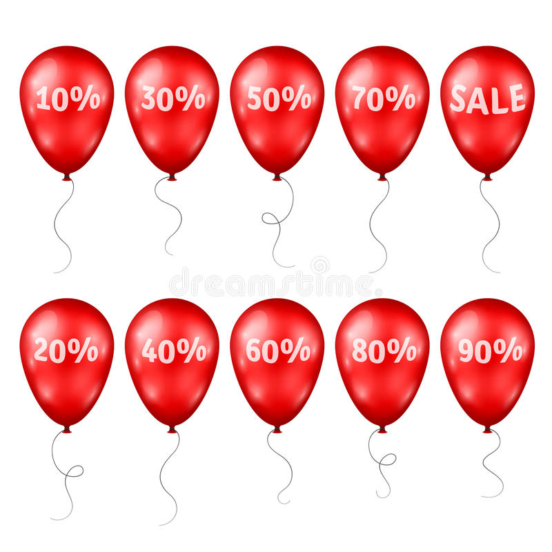 Red Balloons with Percents and Sale Text royalty free illustration