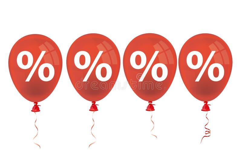 4 Red Balloons Percents stock illustration