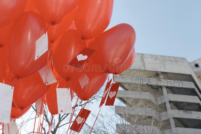 Red balloons stock photos