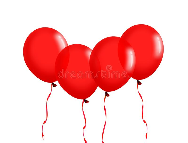 Red balloons with ribbon vector illustration