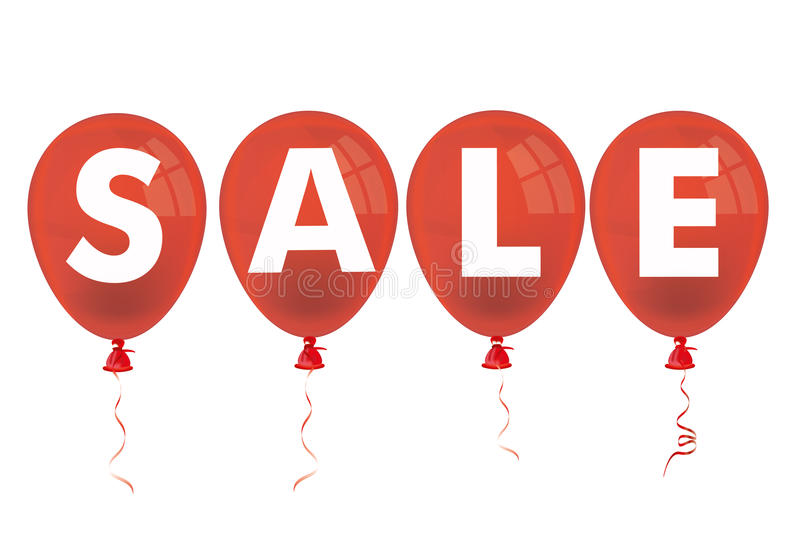 4 Red Balloons Sale. Text Sale with red balloons on the white background vector illustration