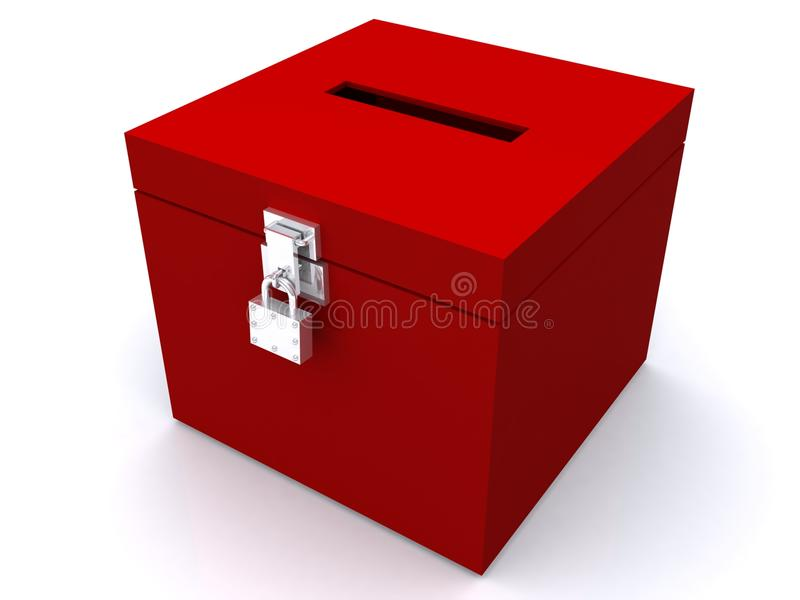 Red Ballot Box with Lock. Red, locked ballot box illustration