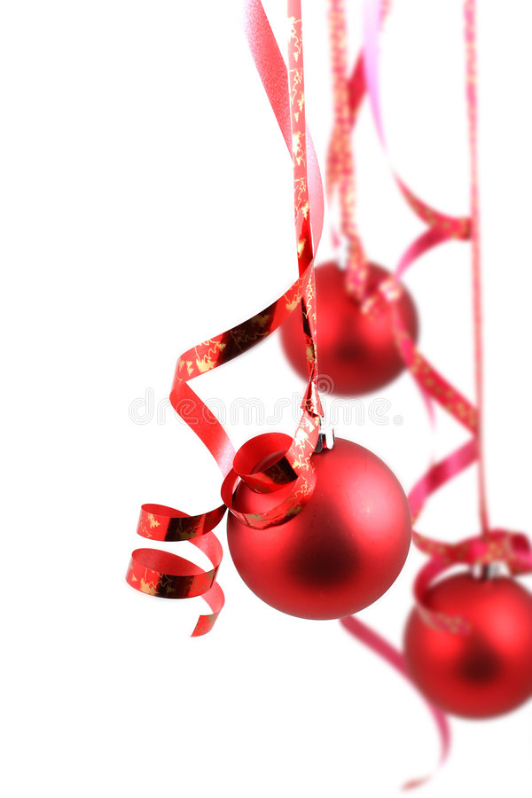 Red balls. On white background - Christmas decoration royalty free stock photo