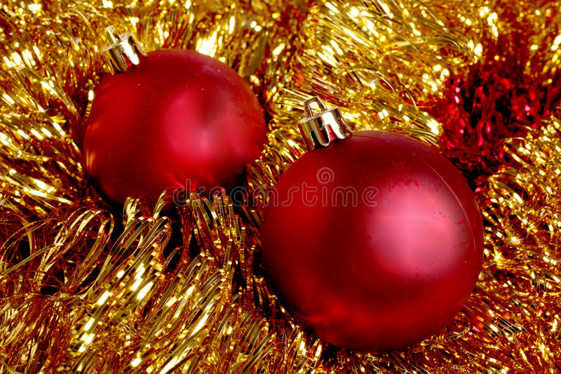 Red balls on christmas decoration royalty free stock photos