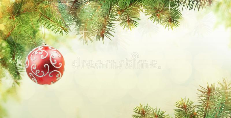 Christmas Background of Balls on the Christmas Tree royalty free stock photo