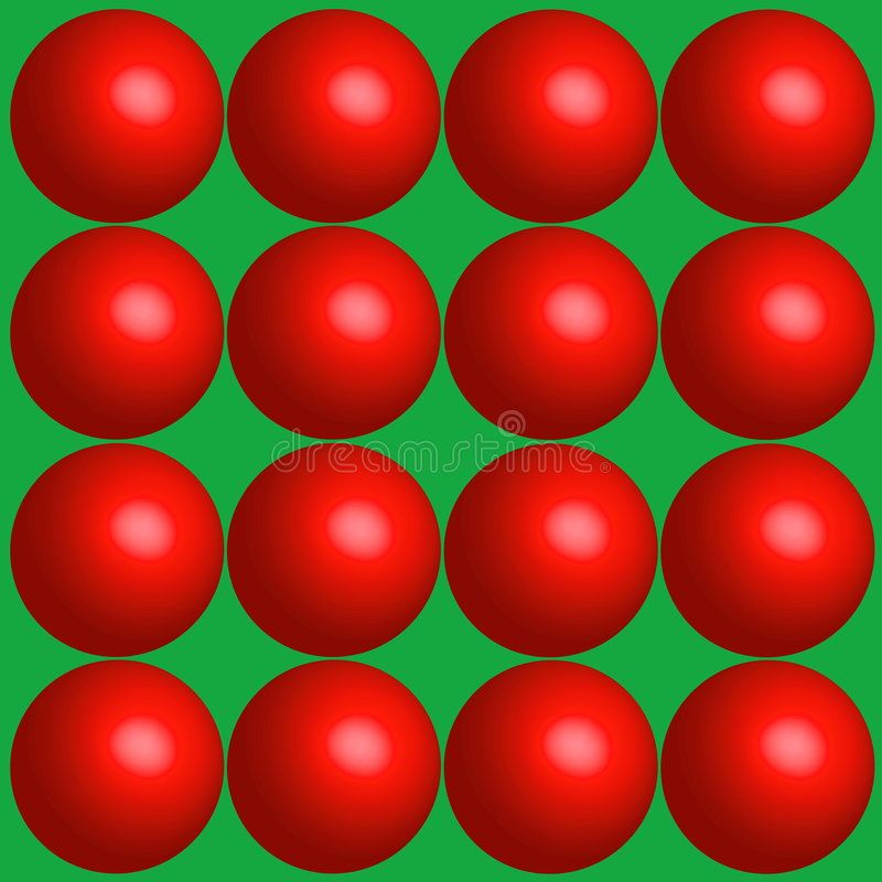 Red Balls Holiday Background. Illustration of a series of 16 3-D type red balls on a green background. Extra large size for you at 17x17 royalty free illustration