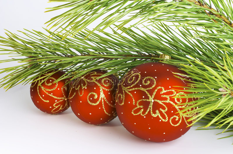 Red balls with pine branch stock photo