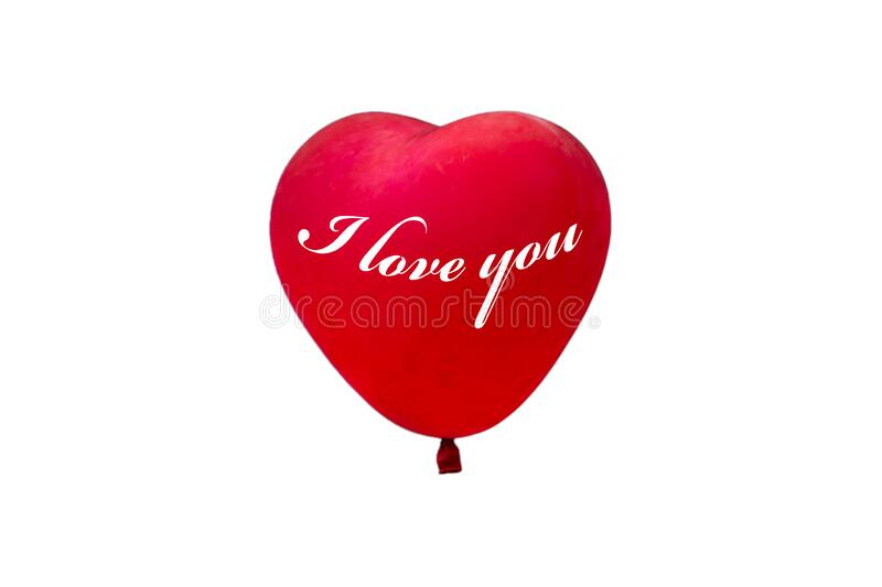 Red baloon with `I love you` written on it. Red, heart-shaped baloon on a white background with `I love you` written on it royalty free stock photos