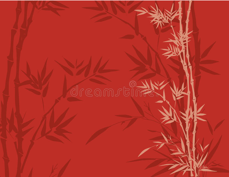 Red bamboo background stock illustration