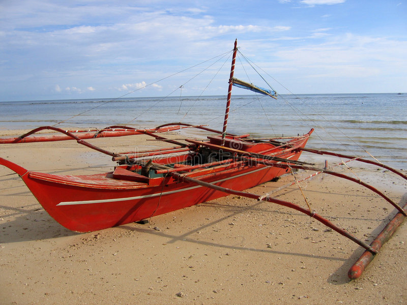 Red Banca Outrigger Fishing Boat Philippines Stock Image - Image of beach, diving: 250851