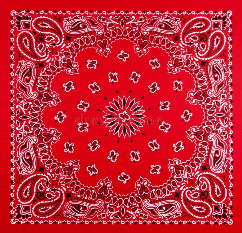 Red Bandana Print. A bandana pattern of black and white printed on red fabric