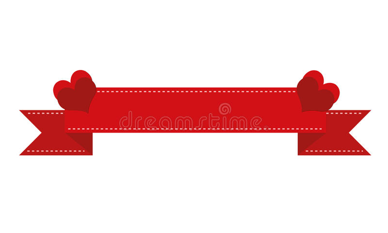 Red banner with hearts stock image