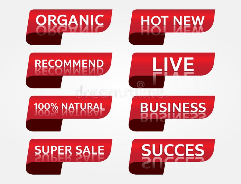 Red banner promotion tag design for marketing stock photography