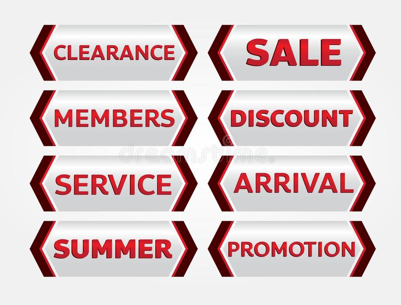 Red banner promotion tag design for marketing stock images