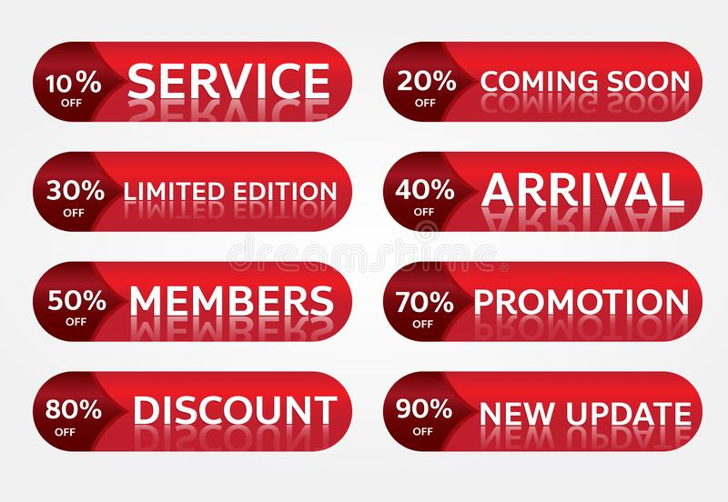 Red banner promotion tag design for marketing royalty free stock photography