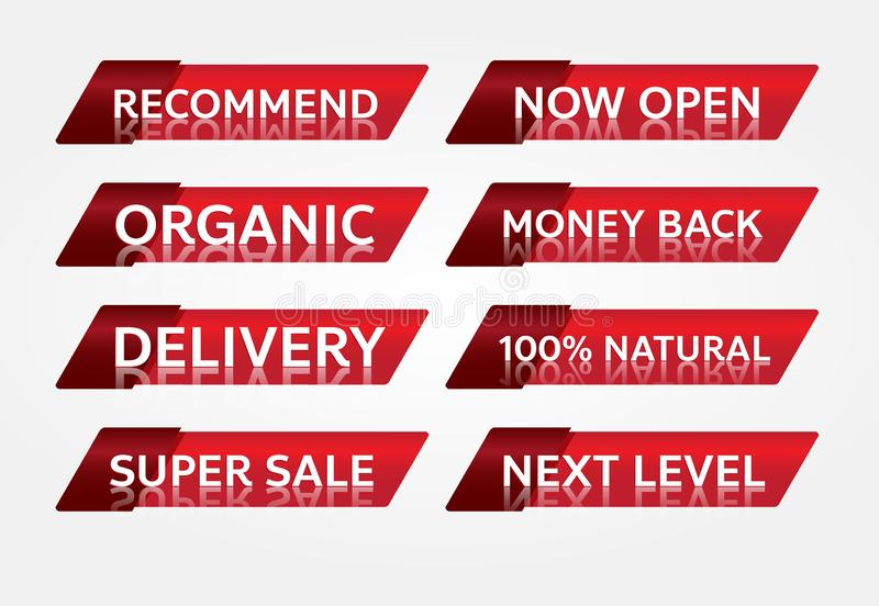 Red banner promotion tag design for marketing royalty free stock images