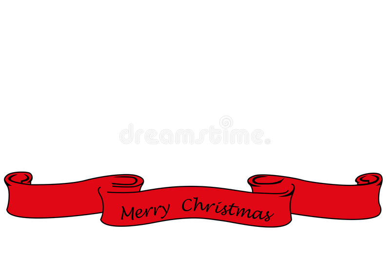 Red banner with the words Merry Christmas, christmas card. Islated on white vector illustration