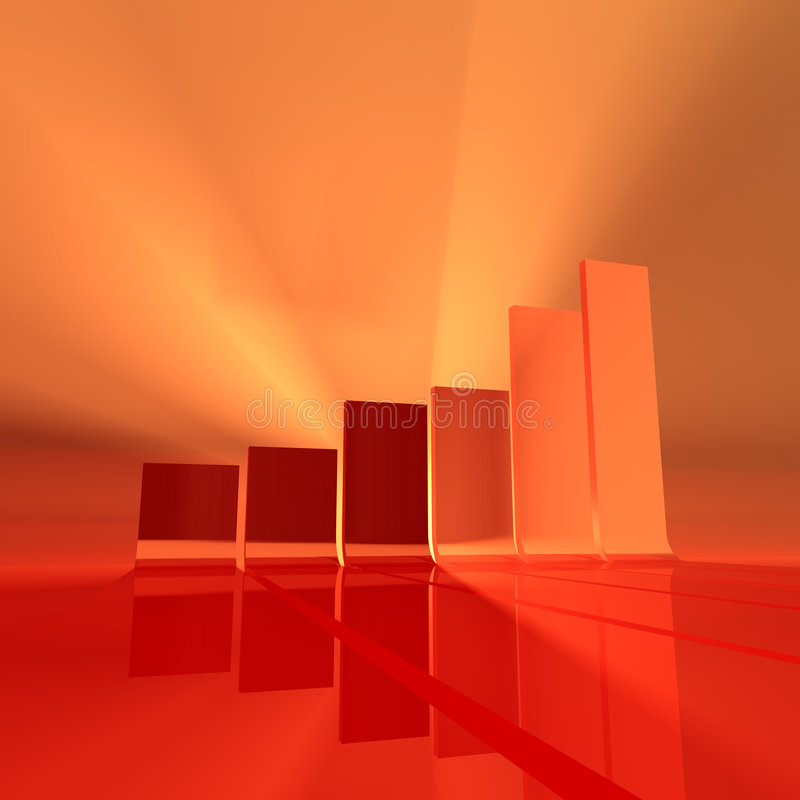 Red bar chart. Abstract bar chart rendering, red and orange light, foggy atmosphere