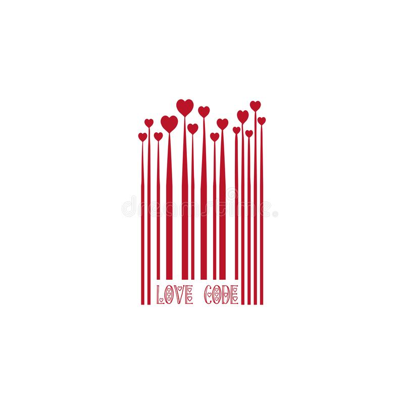 Red Bar Code with Heart Shapes for Valentines Day Love Design Monochrome Growing Hearts, Barcode Lines, Isolated Sign stock illustration
