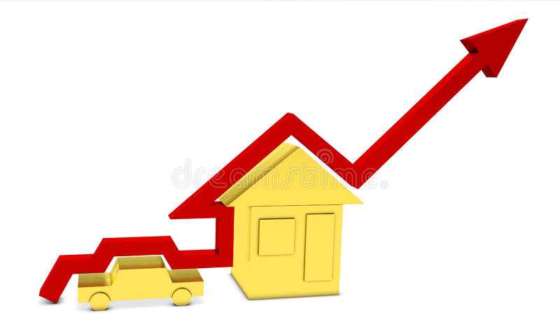Red Bar Graph Showing The Growth Of Human Welfare Royalty Free Stock Photos