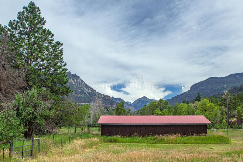 Red Barn and Abrams Mountain, Portland, Colorado. Natural Beauty, Roadside Wonder stock photos