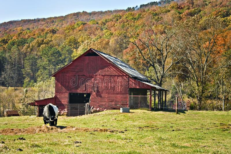 Red barn with autumn mountain