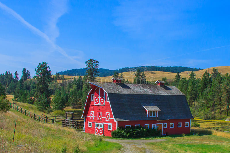 Red Barn with Blue Sky stock photos