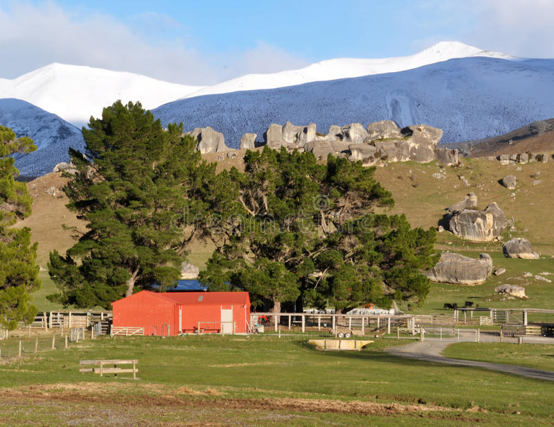Red Barn, Castle Hill New Zealand. Red barn at Castle Hill, Canterbury, New Zealand. This amazing limestone area in the Southern Alps is where The Lord of The stock image