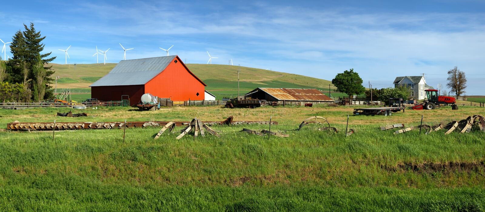 Red barn in a farm Eastern Washington. Red barn in a country farm eastern Washington Pacific NW royalty free stock images