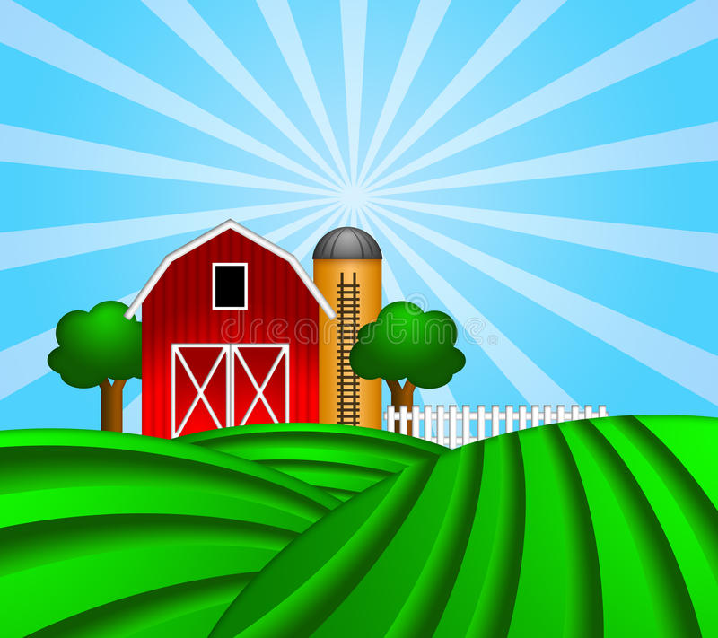 Red Barn With Grain Silo On Green Pasture Stock