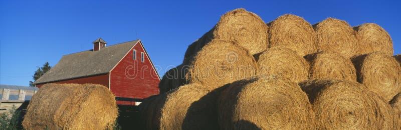 Red Barn and Haystacks, Idaho Falls stock photo