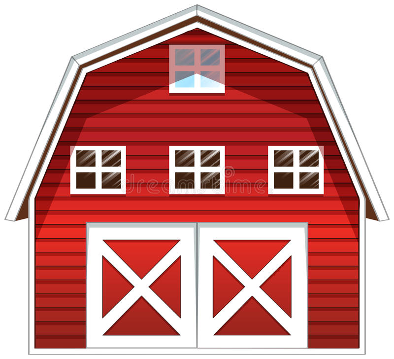 A red barn house royalty free illustration
