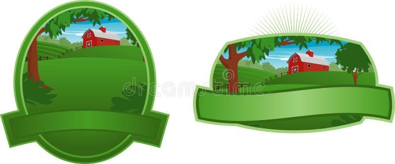 Red Barn Label royalty free illustration
