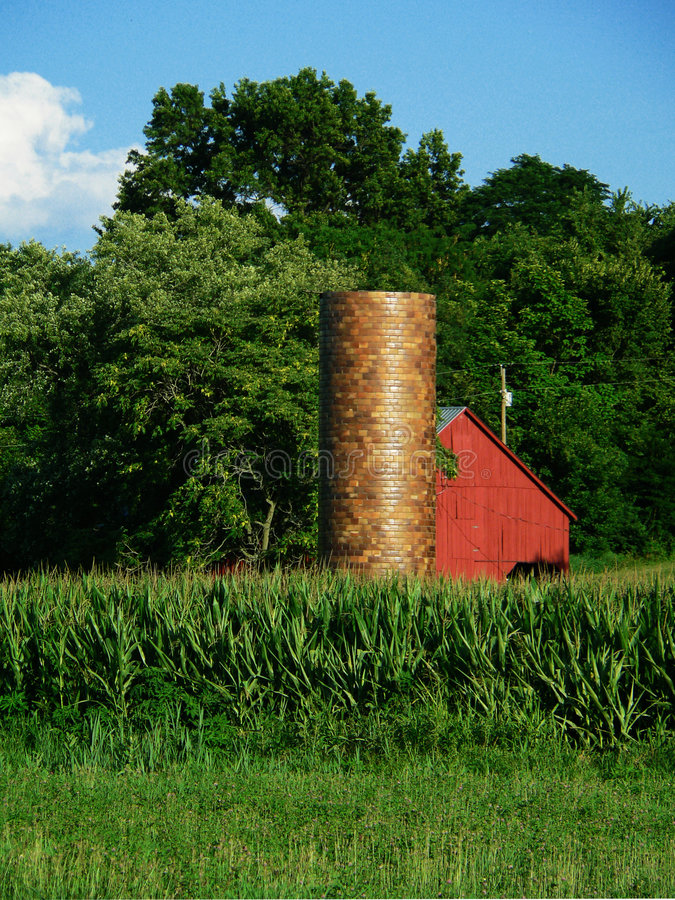 Download Red Barn and Silo stock image. Image of gold, country, round - 188353