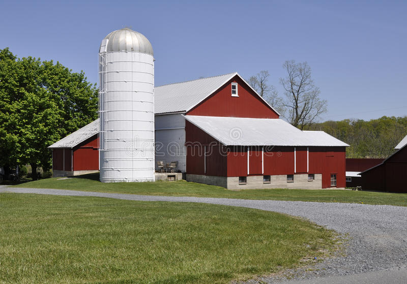 Red barn and silo in rural Pennsylvania stock photo