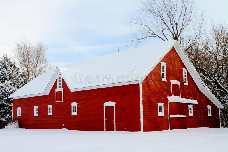 Download Red barn in snow stock photo. Image of farm, cold, country - 18288736