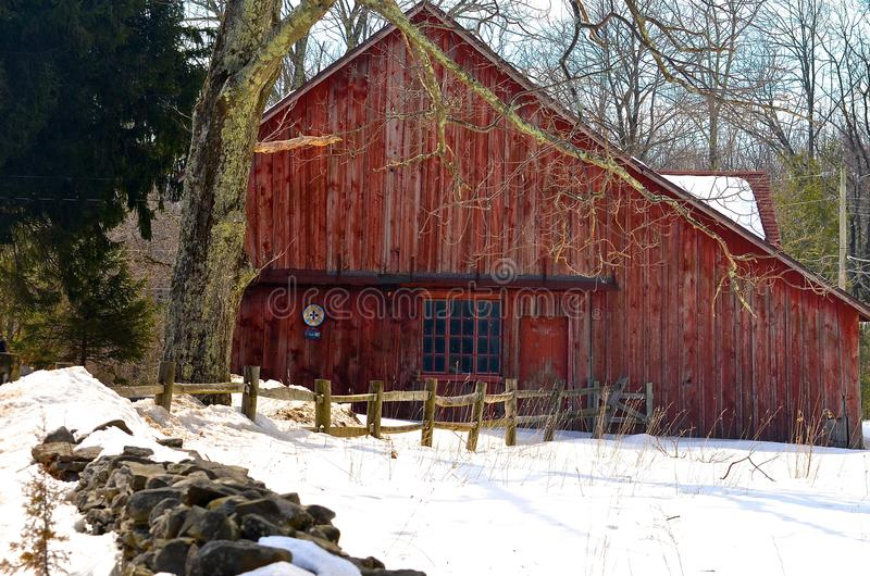 Red Barn in the Snow stock photos