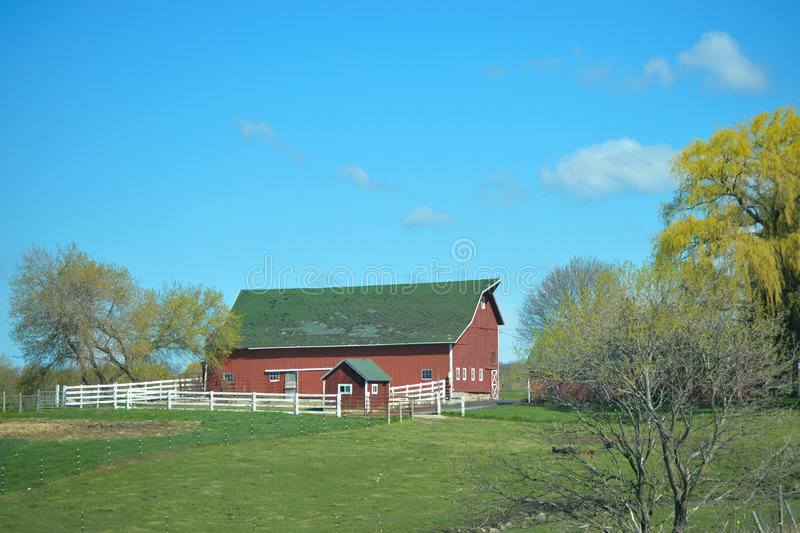 Red Barn White Fence Stock Photo Image 55199850