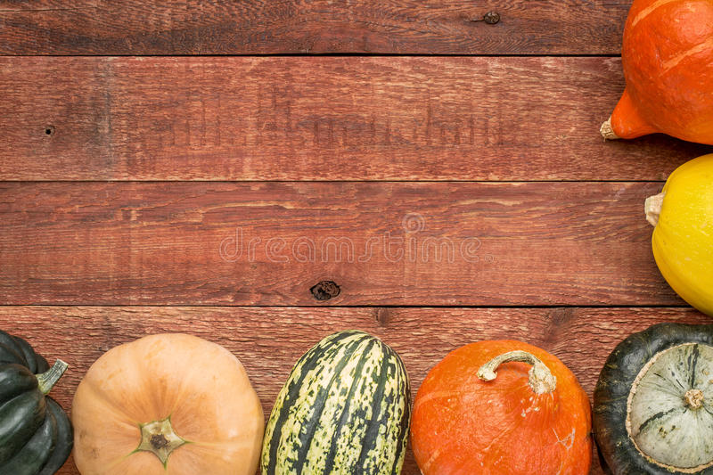 Red barn wood background with squash stock image
