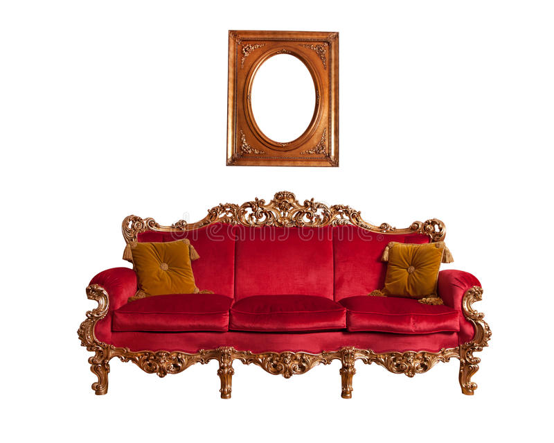 Red baroque sofa stock photos