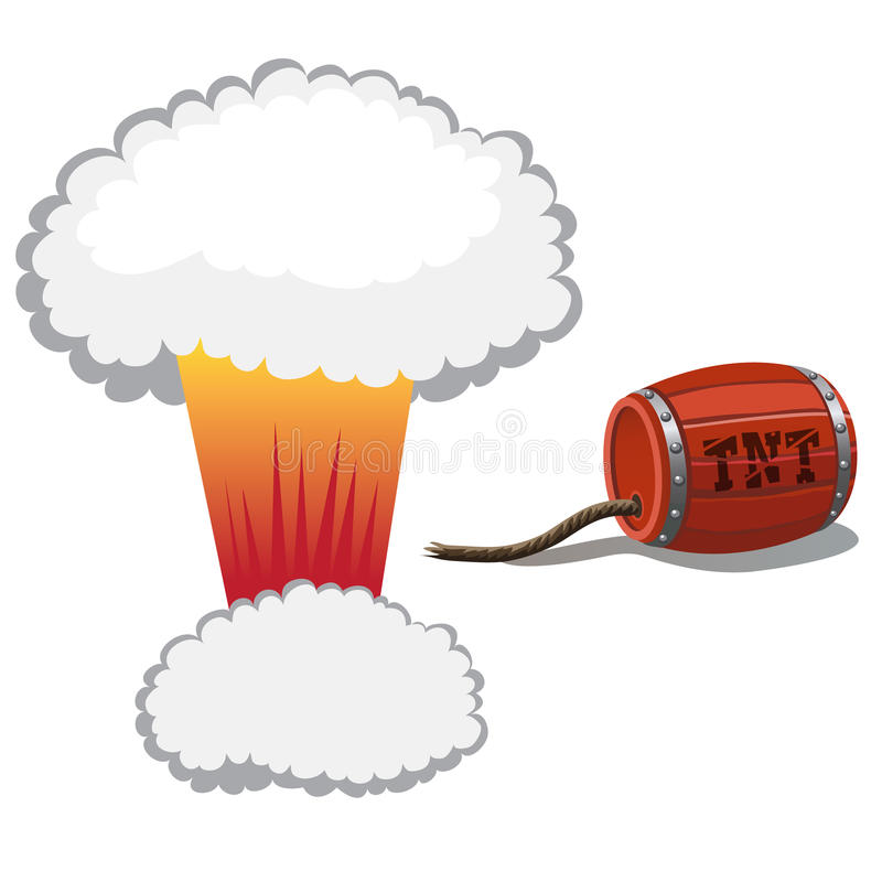 Red barrel of dynamite and a bomb blast royalty free illustration