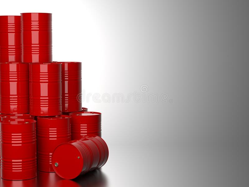 Red Barrels for Oil . Bunch of Red Barrels for Oil on Gray Background. 3D Render stock image