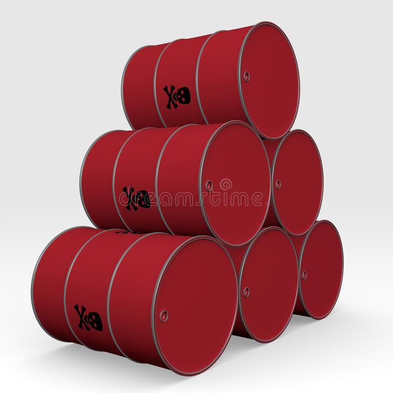 Red barrels of toxic products - 3D Illustration vector illustration