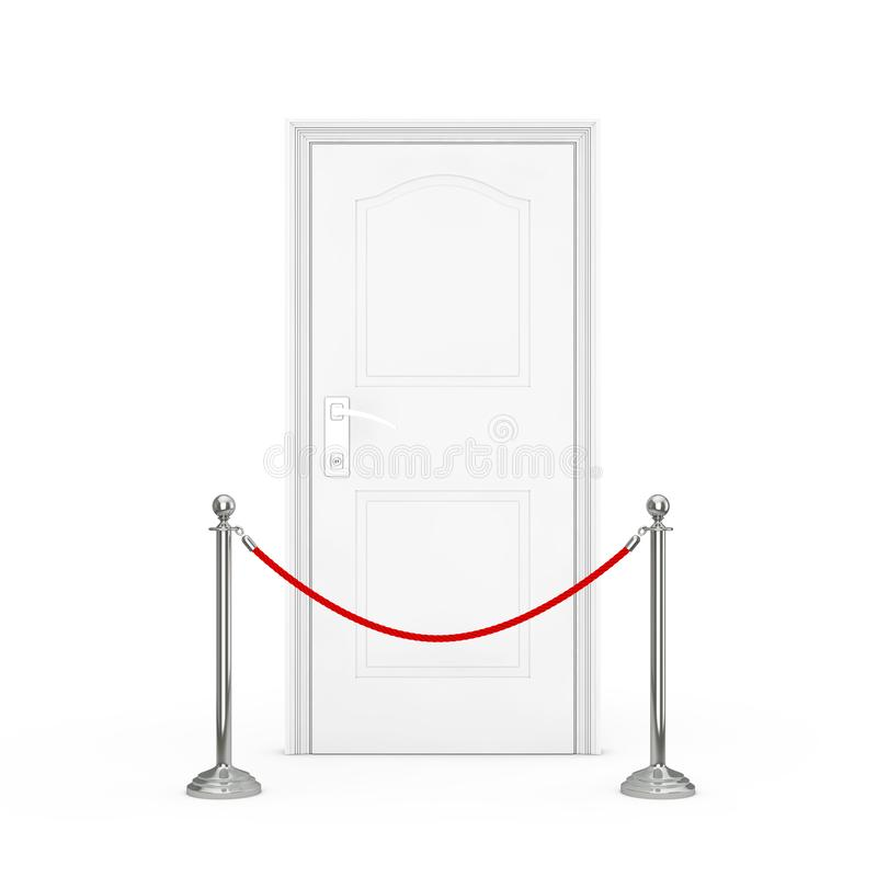 Red Barrier Rope Stanchions Turnstile Facecontrol in Front of White Door. 3d Rendering vector illustration