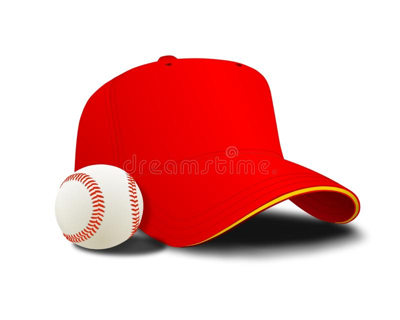 Red baseball cap and ball stock images