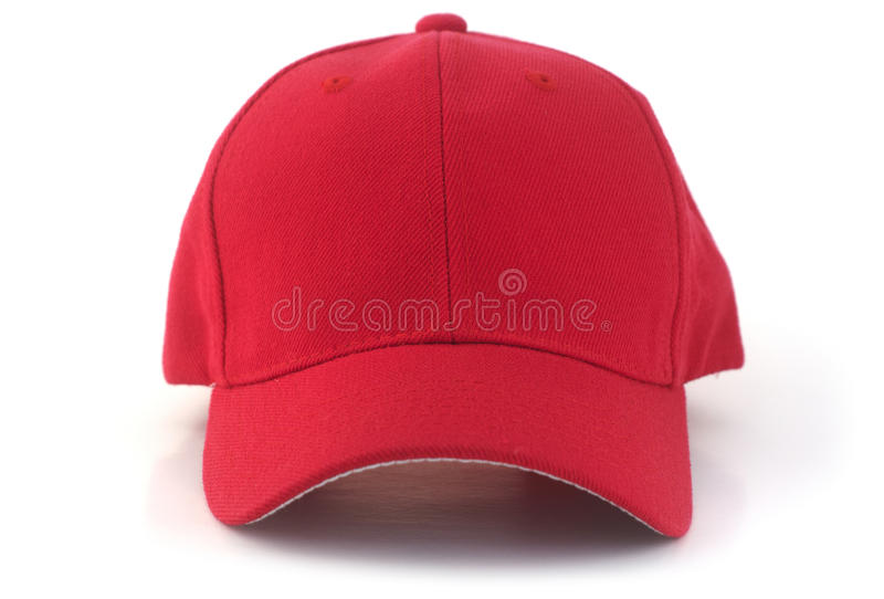 Red Baseball Cap. Isolated red baseball cap on a white background